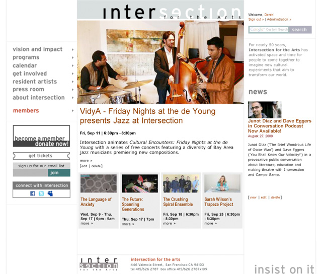 Intersection for the Arts home page